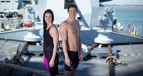 Keri-anne and MJ after taking part in the Royal Navy swimming test