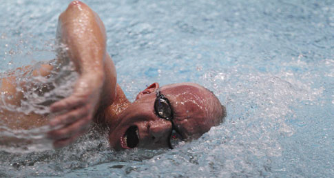 Image of a masters swimmer competing, used on the Masters committee page.