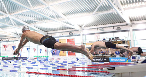 Male swimmers diving into pool