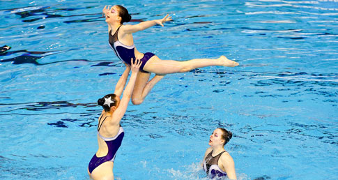 Synchro lift. Leave your messages of support for synchro swimmers at the synchro nationals.