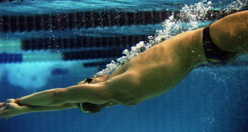 Swimmer diving. Learn about healthy meals and snacks for athletes, such as competitive swimmers.