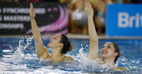 Louise Ross and April Poulter of Rushmoor won duet gold at the National Masters Synchronised Swimming Championships