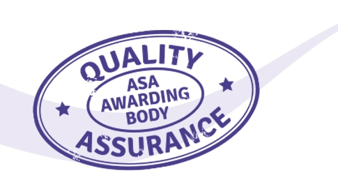 Stylised quality assurance stamp. Learn all about the ASA Awarding Body quality assurance systems for Approved Centres.