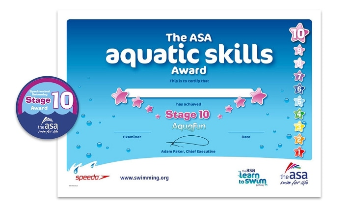 Aquatic Skills Award Synchro Stage 10