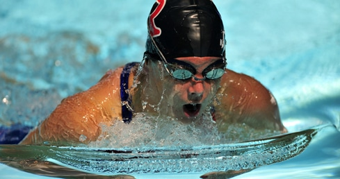 Katie Henderson swimming breaststroke. used for story about Masters communnity mourning Katie Henderson