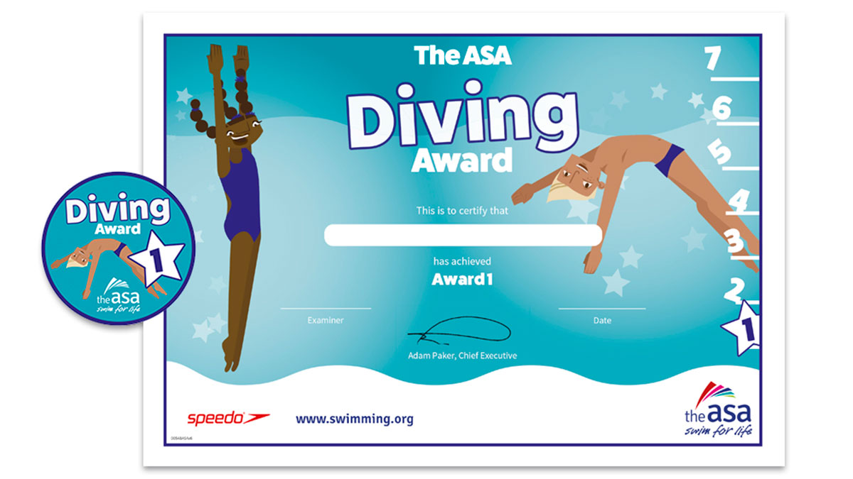 ASA Diving Awards Level 1 Certificate and Badge
