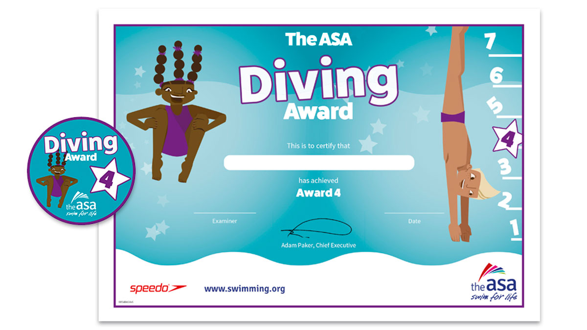 ASA Diving Awards Level 4 Certificate and Badge