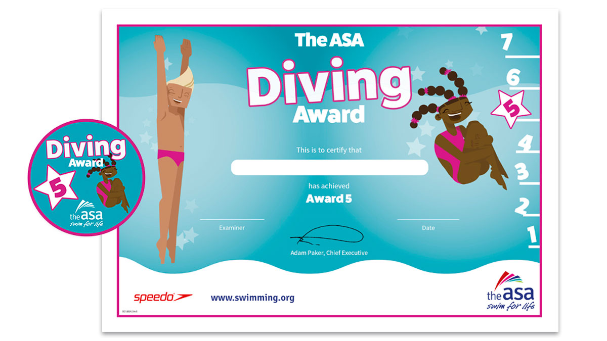 ASA Diving Awards Level 5 Certificate and Badge