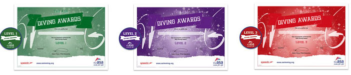 Diving Awards 1-3 example certificates and badges