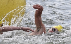 Close competition in 3k open water swimming races