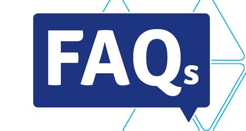 White letters FAQ on a dark blue background. Used on FAQs pages on hte Support Services website.