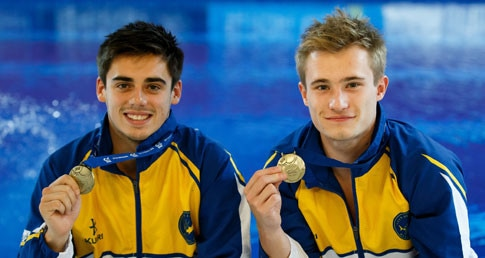 An introduction to diving competitions page. Jack Laugher and Chris Mears with their medals from the British Gas Diving Championships 2015.