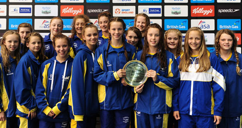 ASA Swimming Trophies. City of Leeds with best women's team trophy from 2014