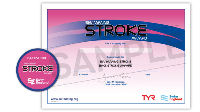 Swimming Stroke Awards. Certificate and badge.