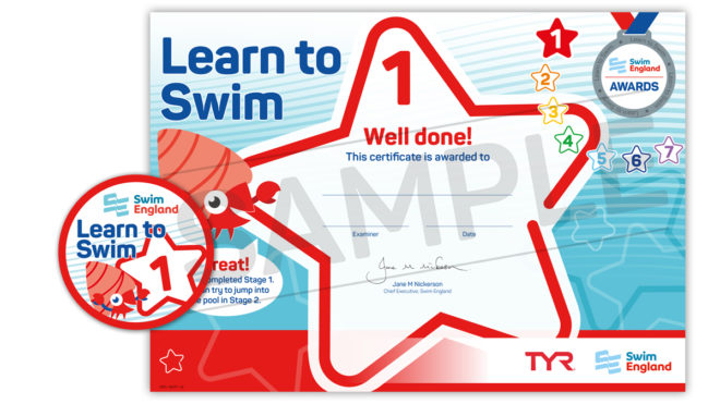 Learn to Swim Awards 1-7 badge and certificate