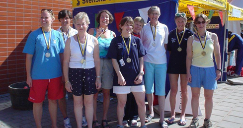 Picture of Diane Ford at the Stockholm 2005 European Masters Championships. Used on page about history of the European Masters Championships