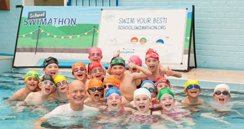 Duncan Goodhew 2016. Record sign-ups for School Swimathon 2016.