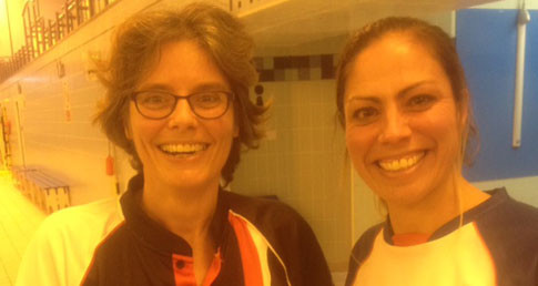 Jo Mitchinson is preparing for her first race of 2016. An image of her and her swimming coach.