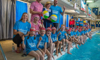 The athletes and Big School Swim participants