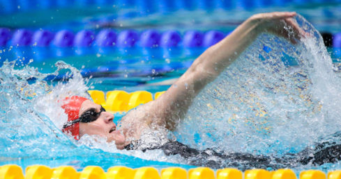Jo Corben swimming backstroke. Used for news story world records at London 2016 Masters