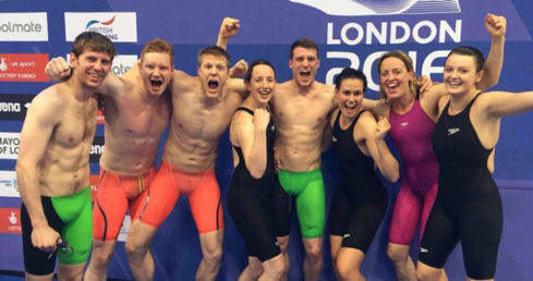 Mixed Medley relay Masters teams for GB at London 2016. Used for news story Williams becomes oldest British Masters champion.