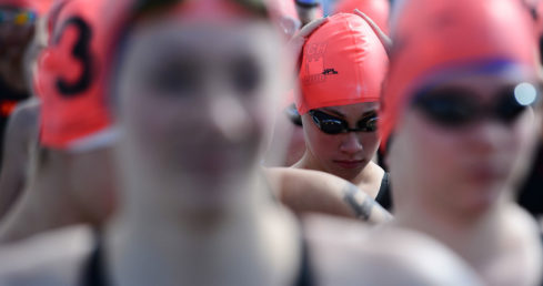 Swimmers preparing to race in the Open Water Festival