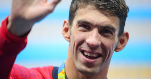 Michael Phelps at Rio 2016. Used for list of top 11 Olympic swimming books.