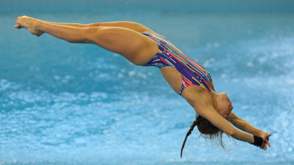 Alicia Blagg diving from a springboard