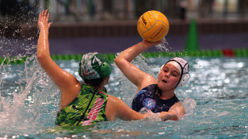 Action from the U15 girls' final at NAG Water Polo 2016
