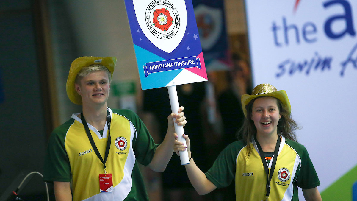 Northamptonshire carrying flag at 2015 County Team Champs swimming