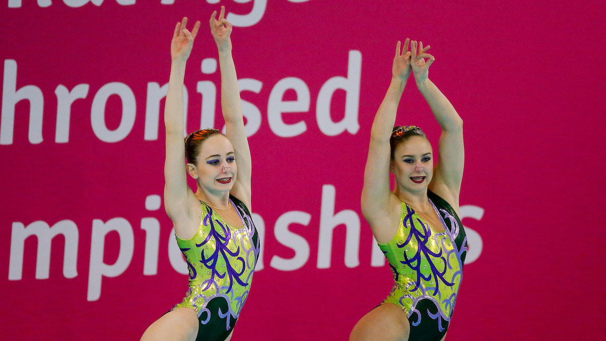 Hannah Randall and Jorja Brown performing their Duet routine at the 2015 ASA National Age Group Synchronised Swimming Championships