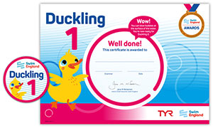 Swim England Duckling 1 certificate and badge