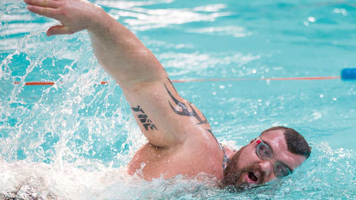 Eddie Hall swimming