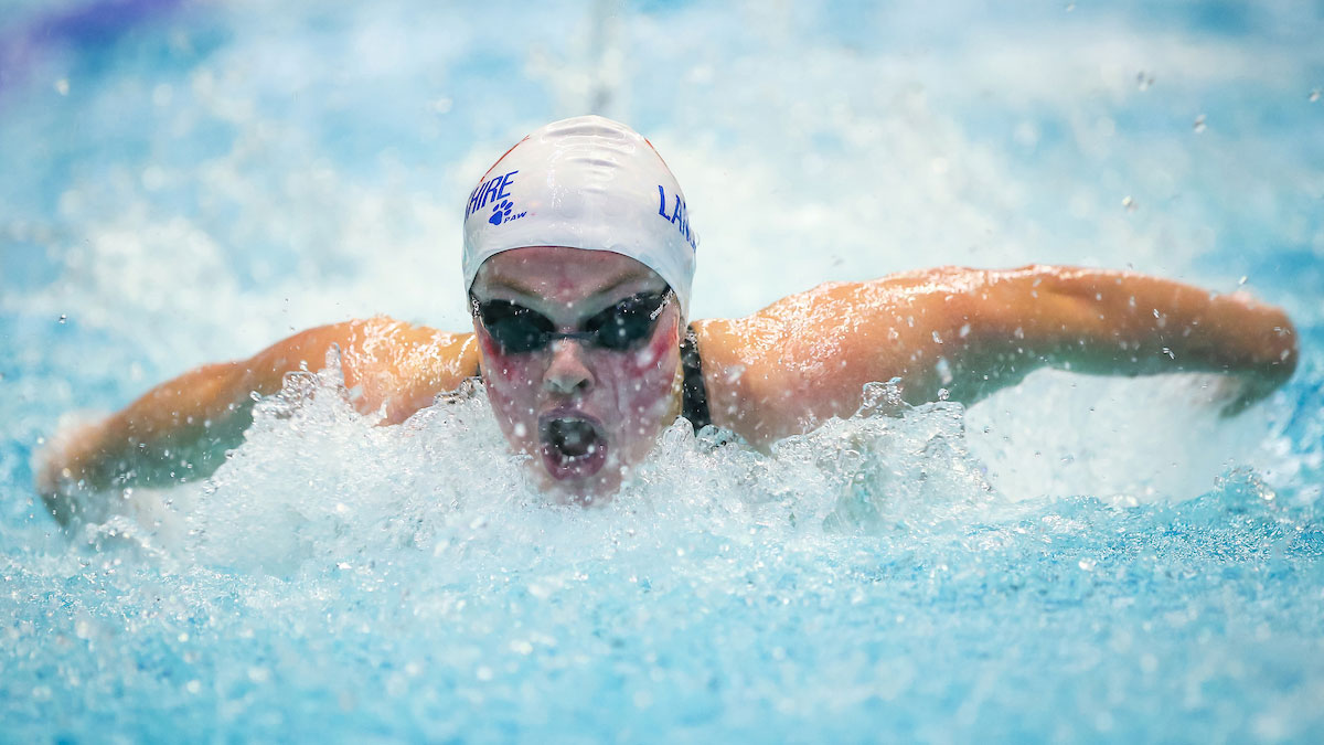 Holly Hibbott swimming butterfly at the 2015 County Team Championships