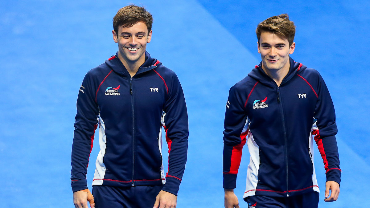 Tom Daley and Dan Goodfellow walk out for the 10m Synchro final at the 2017 World Championships in Hungary.