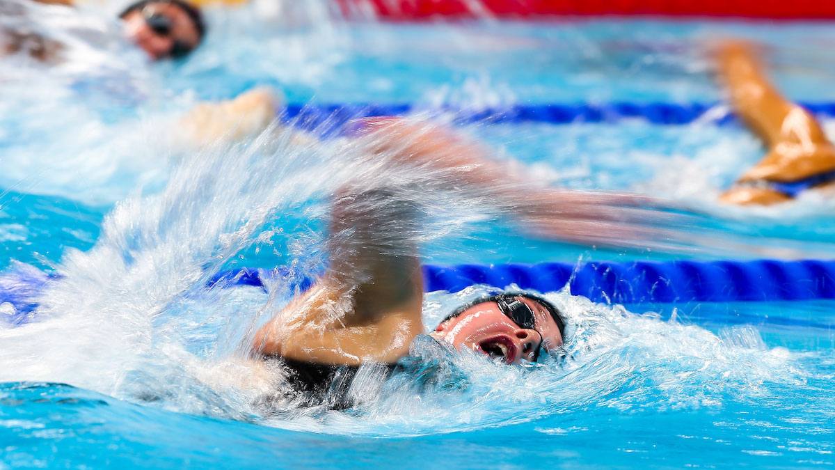 Holly Hibbott swimming in the 800m Freestyle final at the 2017 World Championships in Budapest