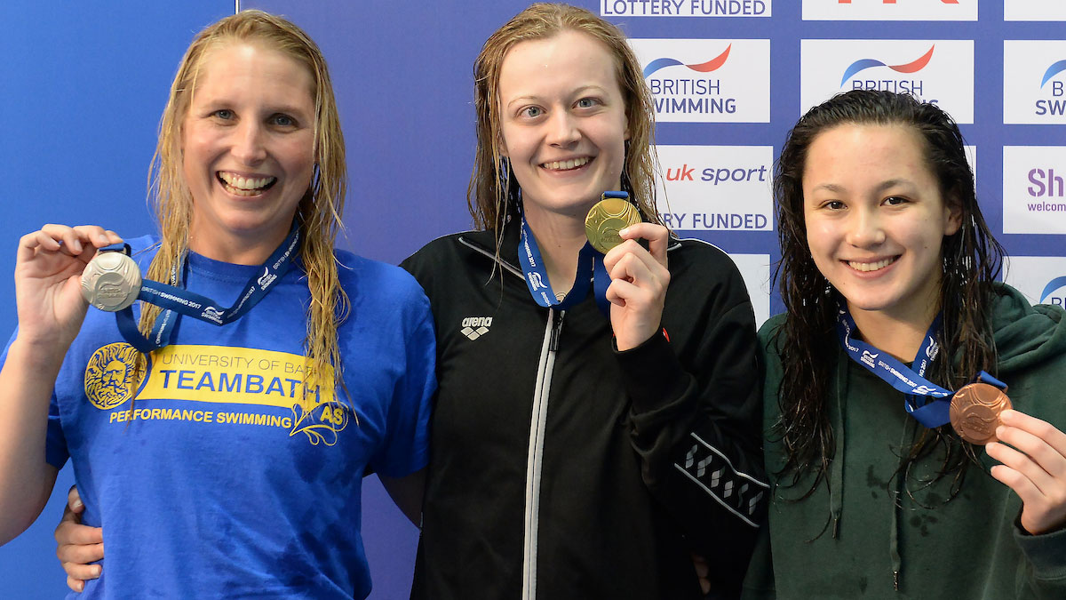 Women's MC 100m Free podium at the 2017 British Summer Champs.