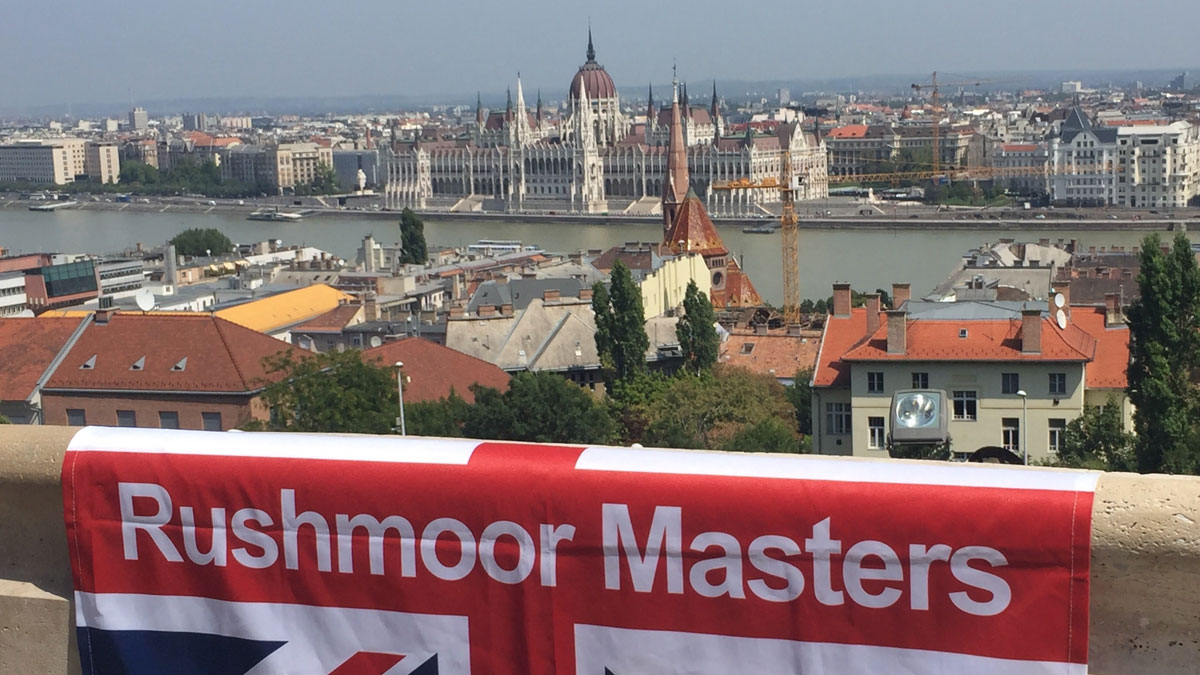 Rushmoor Masters Synchro flag in front of Budapest skyline