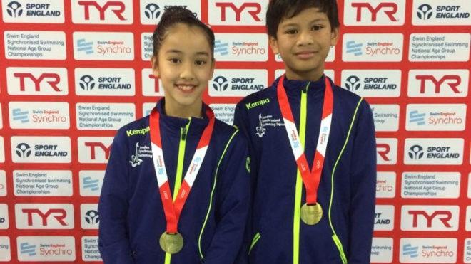 Kadrok and Khairul win 12yrs and under Mixed Duet gold