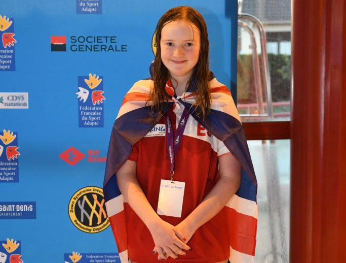 Para-swimmer Ellen Stephenson with a GB flag