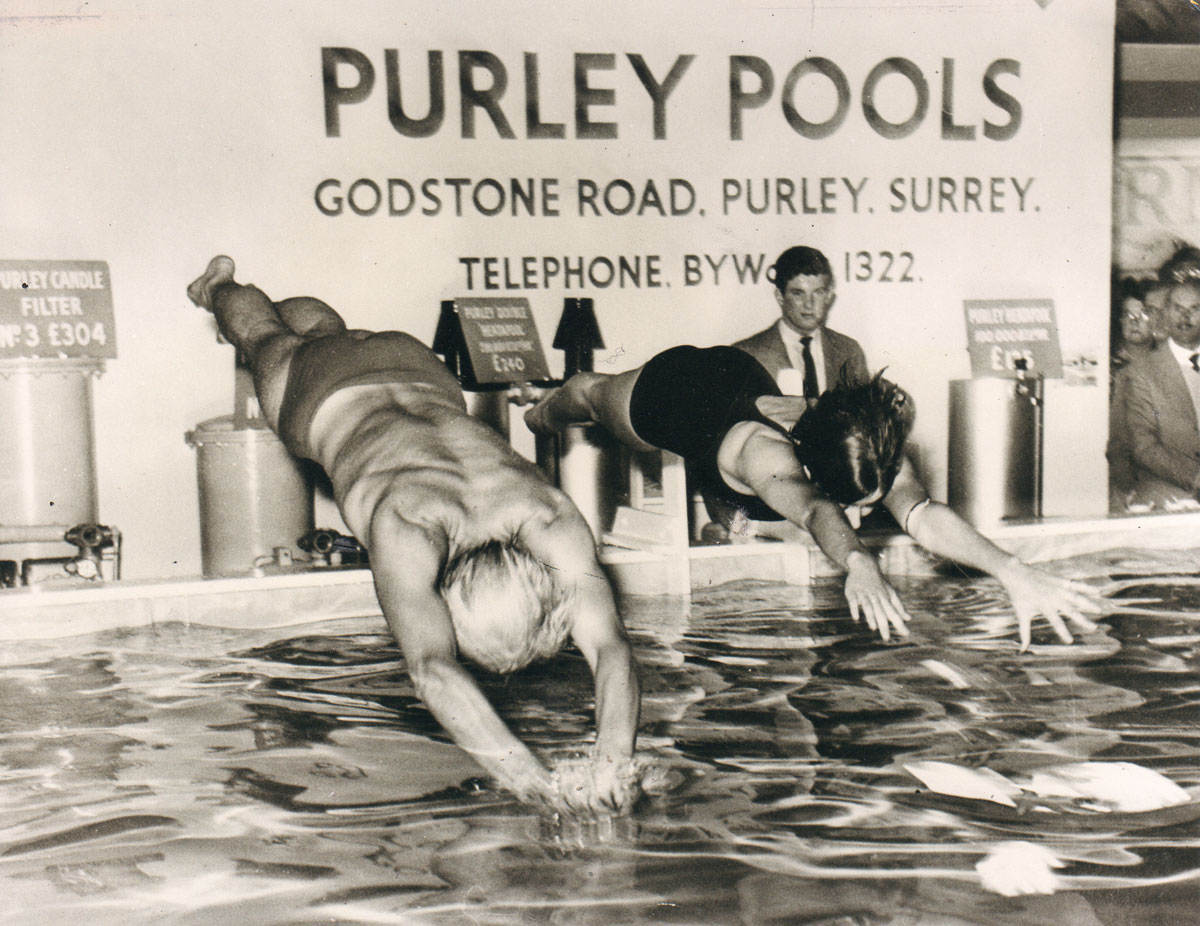 Trevor Baylis diving into Purley Pools. Taken from Swimming Times in May 2015.