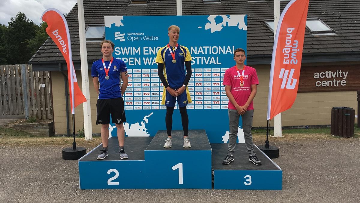 National Open Water Festival Boys 17-18 Years 5K race medallists
