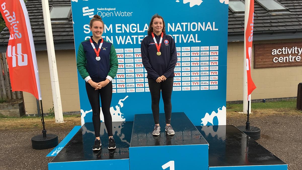 National Open Water Festival Girls 17-18 Years 5K race medallists