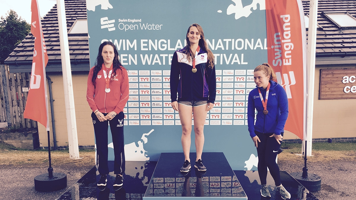 National Open Water Festival Girls 19 Years and over 5K race medallists
