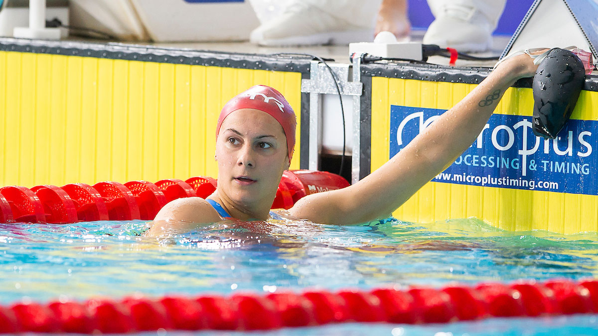 Aimee Willmott in the water after winning her 400m IM heat at the Glasgow 2018 European Championships