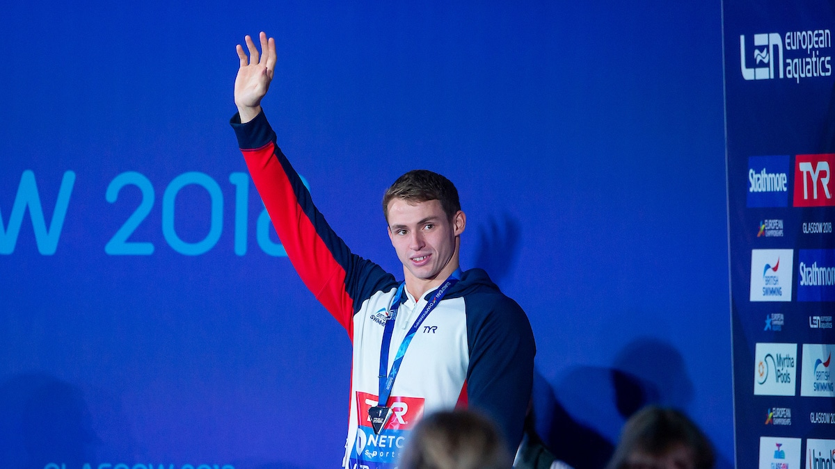 Ben Proud with silver medal at Glasgow 2018 European Championships