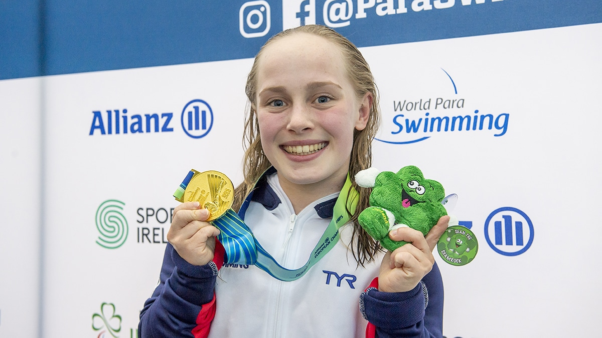 Eleanor Robinson won a gold medal in the Women's S6 Women's 50m Butterfly title