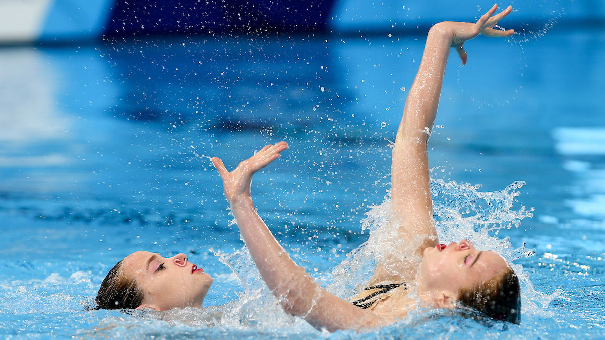 Kate Shortman and Isabelle Thorpe in the Duet Free prelims at the Glasgow 2018 European Championships