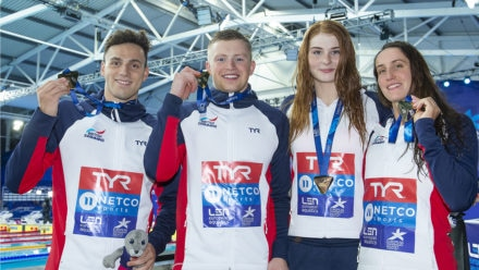 Record-breaking gold for mixed medley swim team