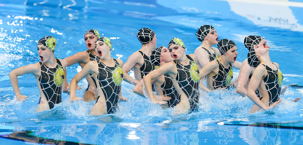 British Free Combination team performing their spiders routine at the European Championships in Glasgow.
